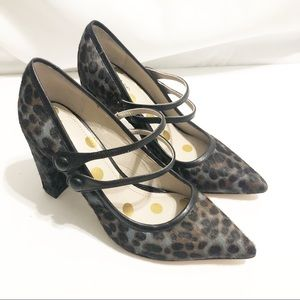 Boden Calf Hair Leopard Strapped Leather Heel
